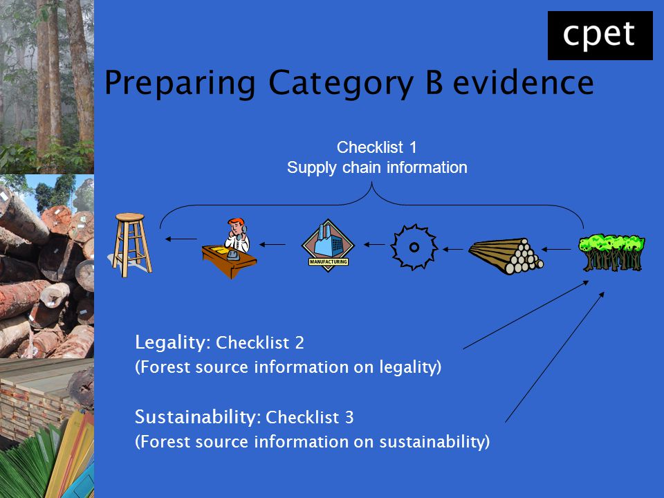 Preparing Category B evidence Legality: Checklist 2 (Forest source information on legality) Sustainability: Checklist 3 (Forest source information on
