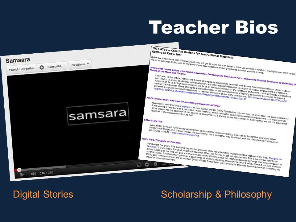 Teacher Bios Digital StoriesScholarship & Philosophy