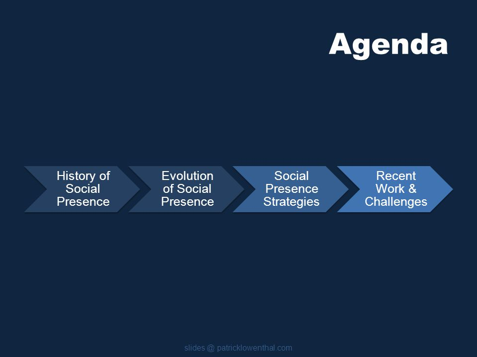 Agenda History of Social Presence Evolution of Social Presence Social Presence Strategies Recent Work & Challenges slides @ patricklowenthal.com