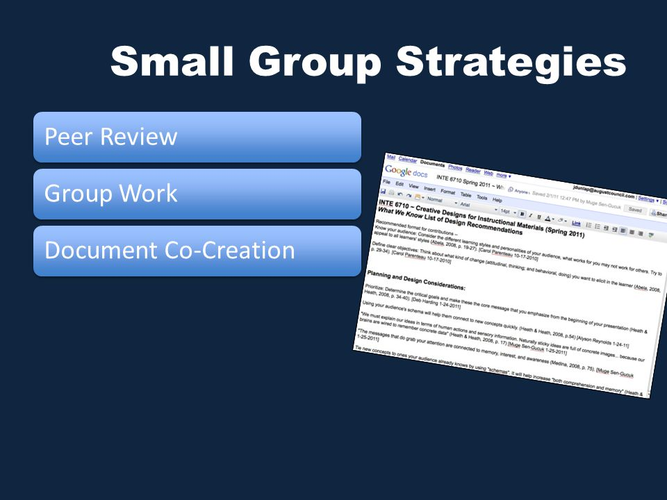 Small Group Strategies Peer ReviewGroup WorkDocument Co-Creation