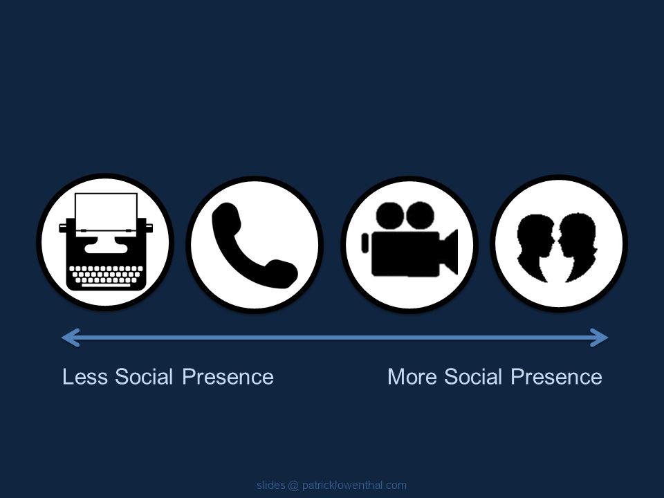 slides @ patricklowenthal.com Less Social PresenceMore Social Presence