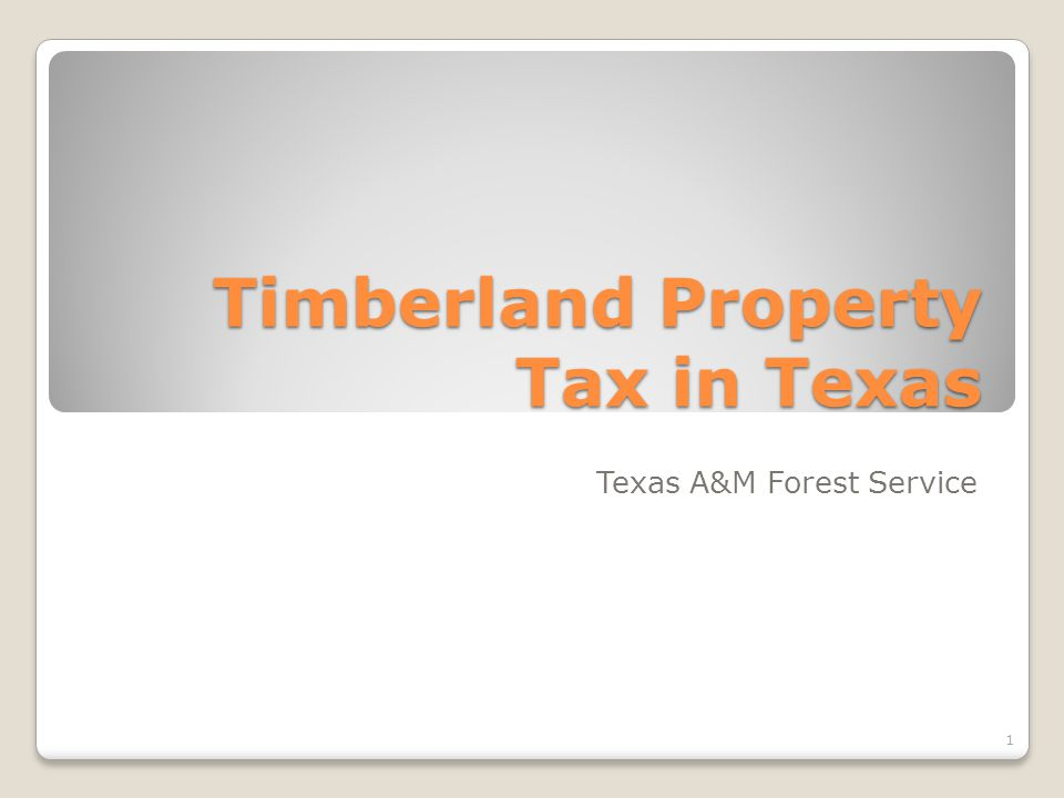 Timberland Property Tax in Texas Texas A&M Forest Service 1