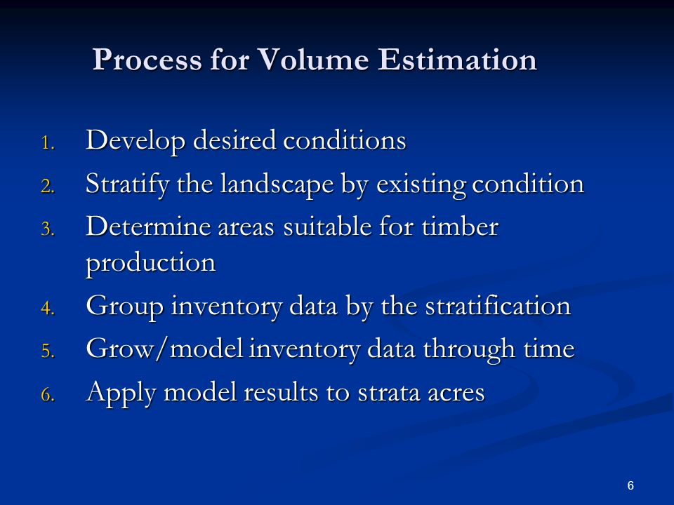 Process for Volume Estimation 1. Develop desired conditions 2.