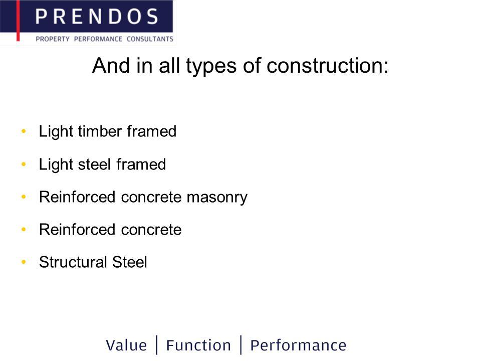 And in all types of construction: Light timber framed Light steel framed Reinforced concrete masonry Reinforced concrete Structural Steel