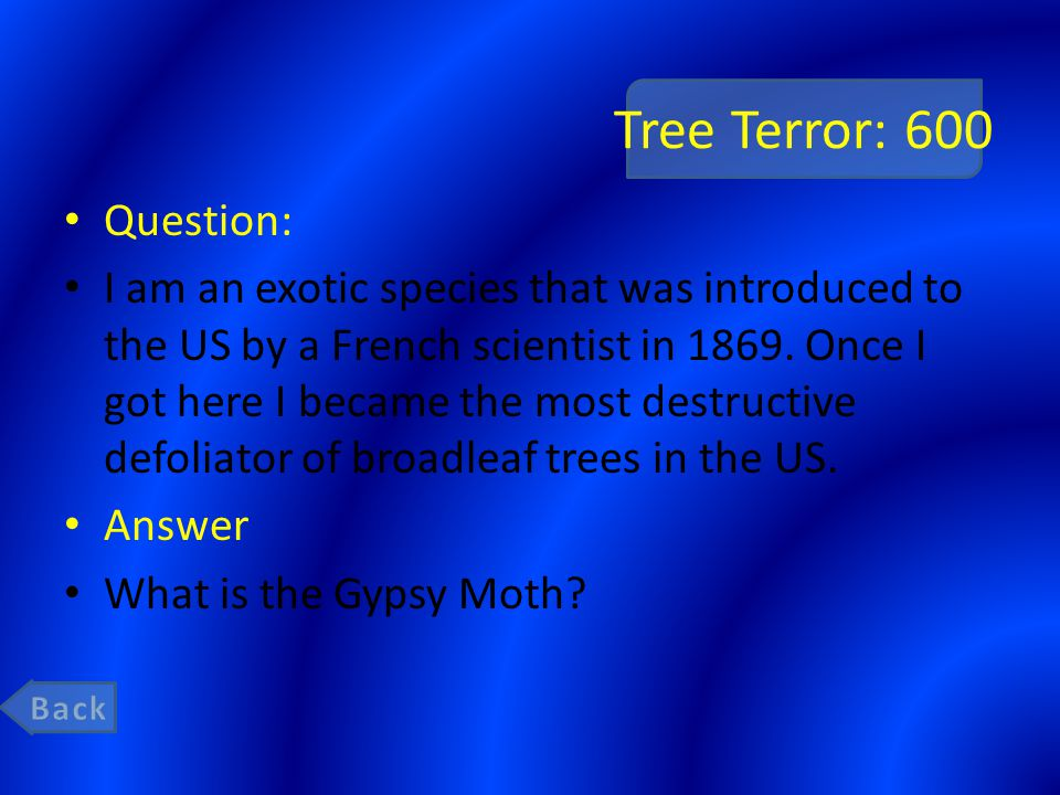 Tree Terror: 600 Question: I am an exotic species that was introduced to the US by a French scientist in 1869.