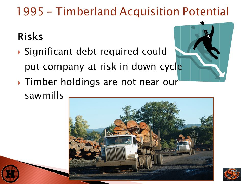 16 Risks  Significant debt required could put company at risk in down cycle  Timber holdings are not near our sawmills 1995 – Timberland Acquisition Potential