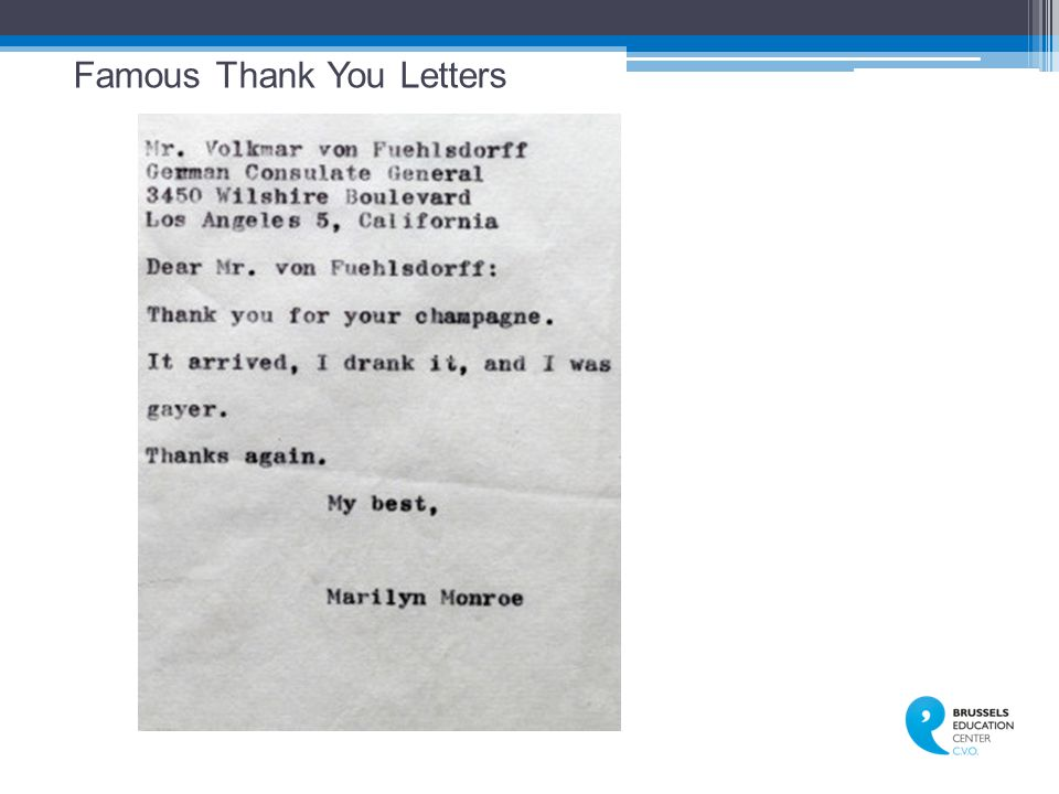 Famous Thank You Letters