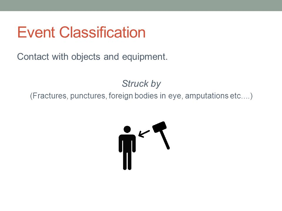 Event Classification Contact with objects and equipment. Struck by (Fractures, punctures, foreign bodies in eye, amputations etc....)