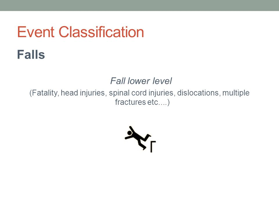 Event Classification Falls Fall lower level (Fatality, head injuries, spinal cord injuries, dislocations, multiple fractures etc....)