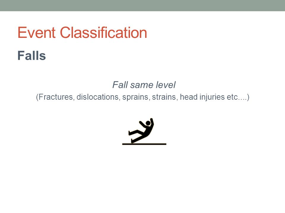 Event Classification Falls Fall same level (Fractures, dislocations, sprains, strains, head injuries etc....)