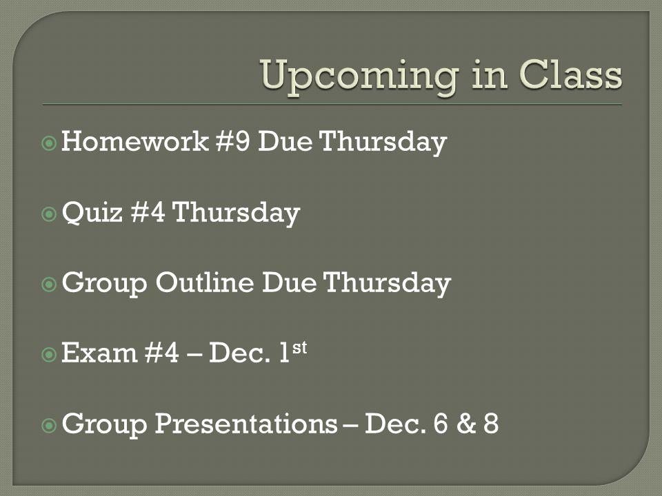  Homework #9 Due Thursday  Quiz #4 Thursday  Group Outline Due Thursday  Exam #4 – Dec.