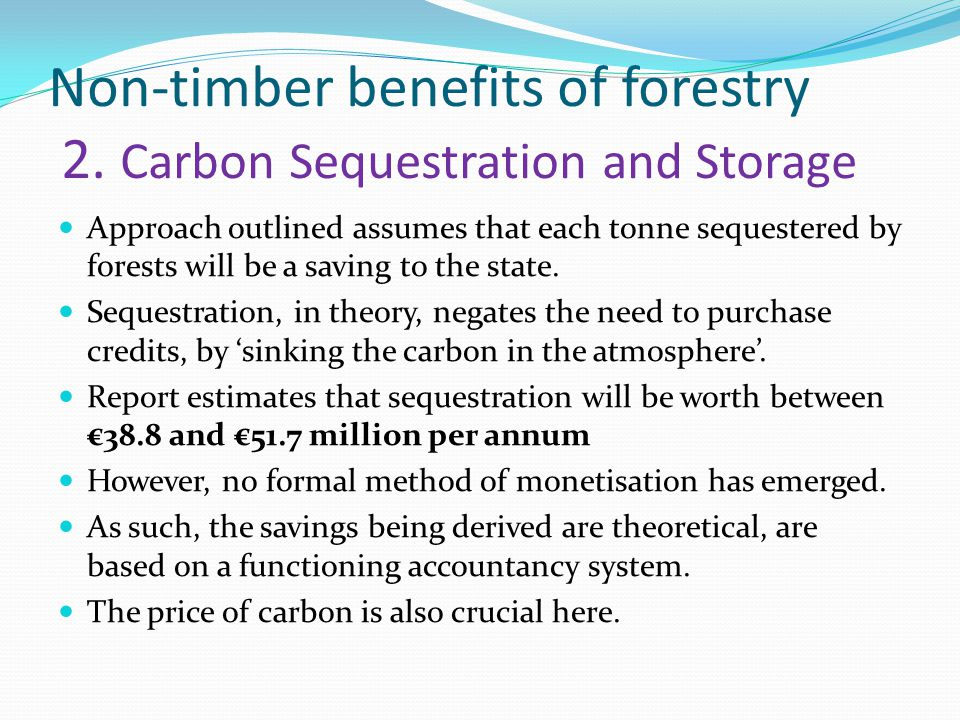 Non-timber benefits of forestry 2.