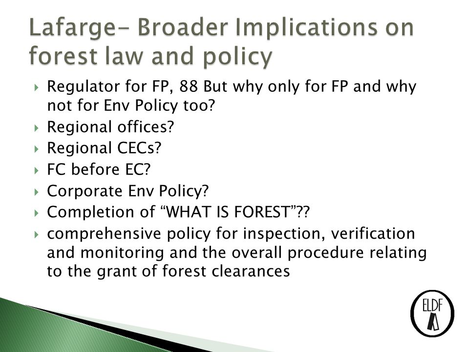  Regulator for FP, 88 But why only for FP and why not for Env Policy too.
