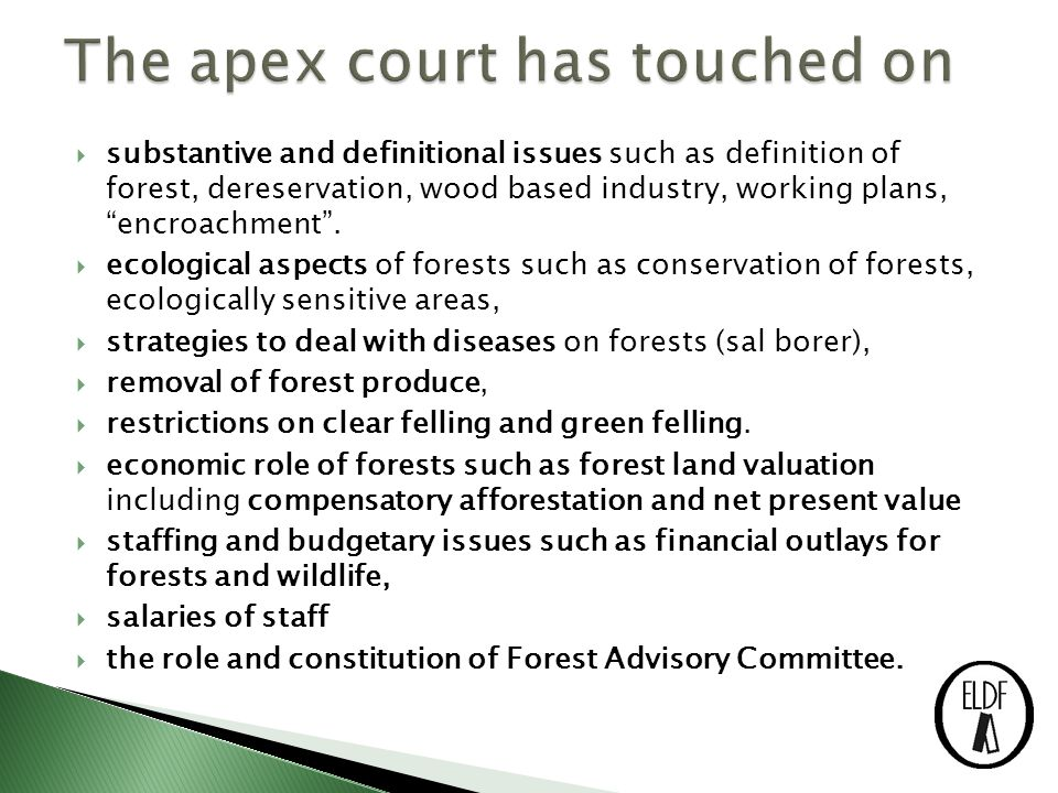  The SC has also ◦ dealt with commercial and livelihood aspects of forestry in relation to mining, sawmills, plantations and wood based industries.