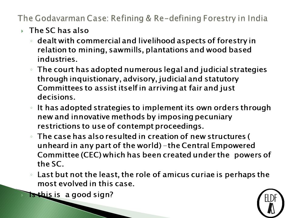  The SC has also ◦ dealt with commercial and livelihood aspects of forestry in relation to mining, sawmills, plantations and wood based industries.