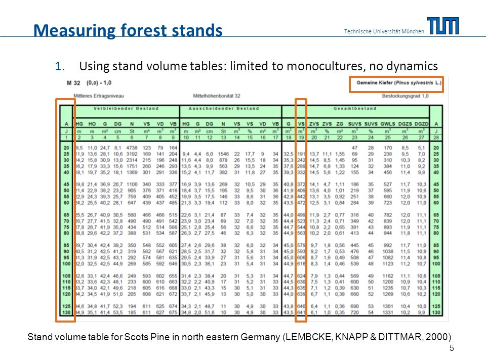 Measuring forest stands 1.Using stand volume tables: limited to monocultures, no dynamics Technische Universität München Stand volume table for Scots Pine in north eastern Germany (LEMBCKE, KNAPP & DITTMAR, 2000) 5