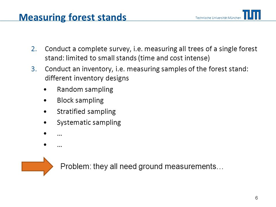 Measuring forest stands 2.Conduct a complete survey, i.e.