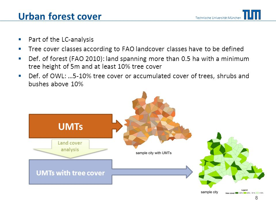Urban forest cover  Part of the LC-analysis  Tree cover classes according to FAO landcover classes have to be defined  Def.