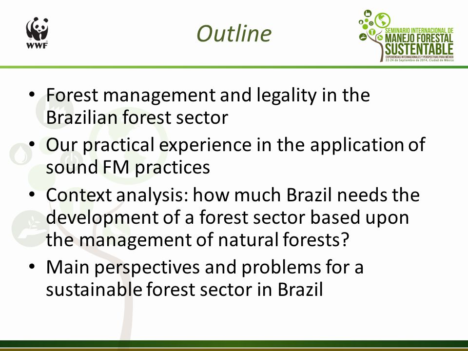Outline Forest management and legality in the Brazilian forest sector Our practical experience in the application of sound FM practices Context analysis: how much Brazil needs the development of a forest sector based upon the management of natural forests.