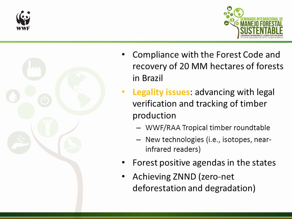 Compliance with the Forest Code and recovery of 20 MM hectares of forests in Brazil Legality issues: advancing with legal verification and tracking of timber production – WWF/RAA Tropical timber roundtable – New technologies (i.e., isotopes, near- infrared readers) Forest positive agendas in the states Achieving ZNND (zero-net deforestation and degradation)