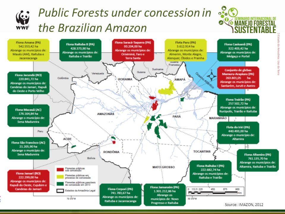 Public Forests under concession in the Brazilian Amazon Source: IMAZON, 2012