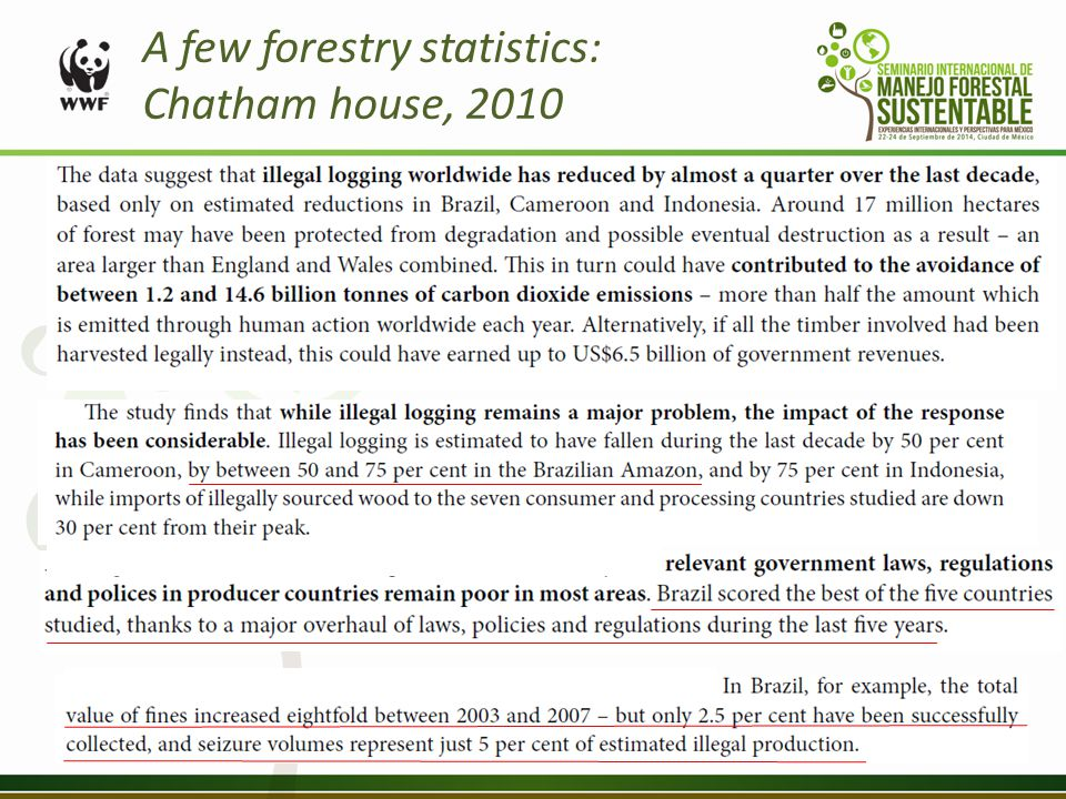A few forestry statistics: Chatham house, 2010