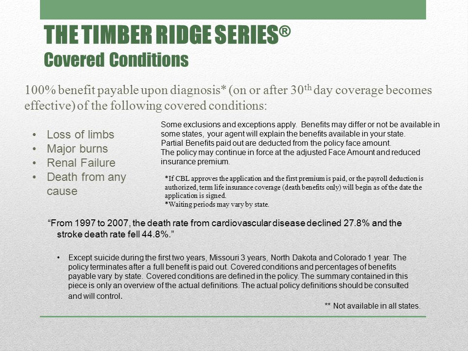 THE TIMBER RIDGE SERIES ® Covered Conditions 100% benefit payable upon diagnosis* (on or after 30 th day coverage becomes effective) of the following covered conditions: Except suicide during the first two years, Missouri 3 years, North Dakota and Colorado 1 year.