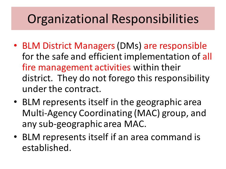Organizational Responsibilities BLM District Managers (DMs) are responsible for the safe and efficient implementation of all fire management activitie