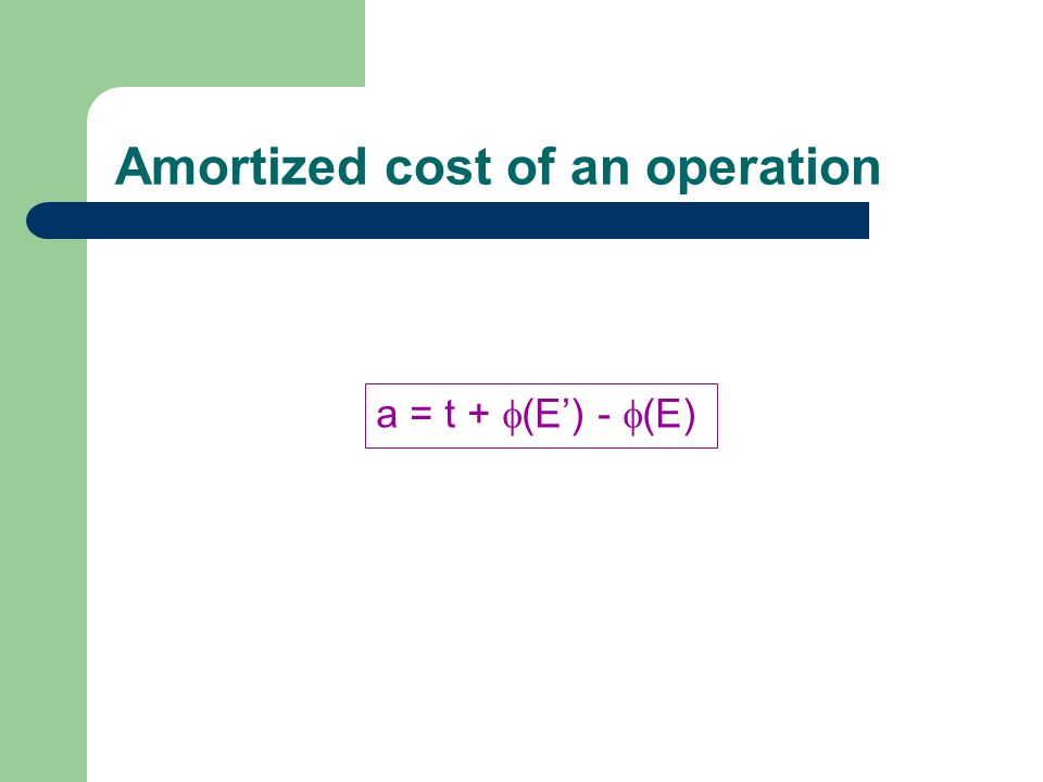 Amortized cost of an operation a = t +  (E') -  (E)
