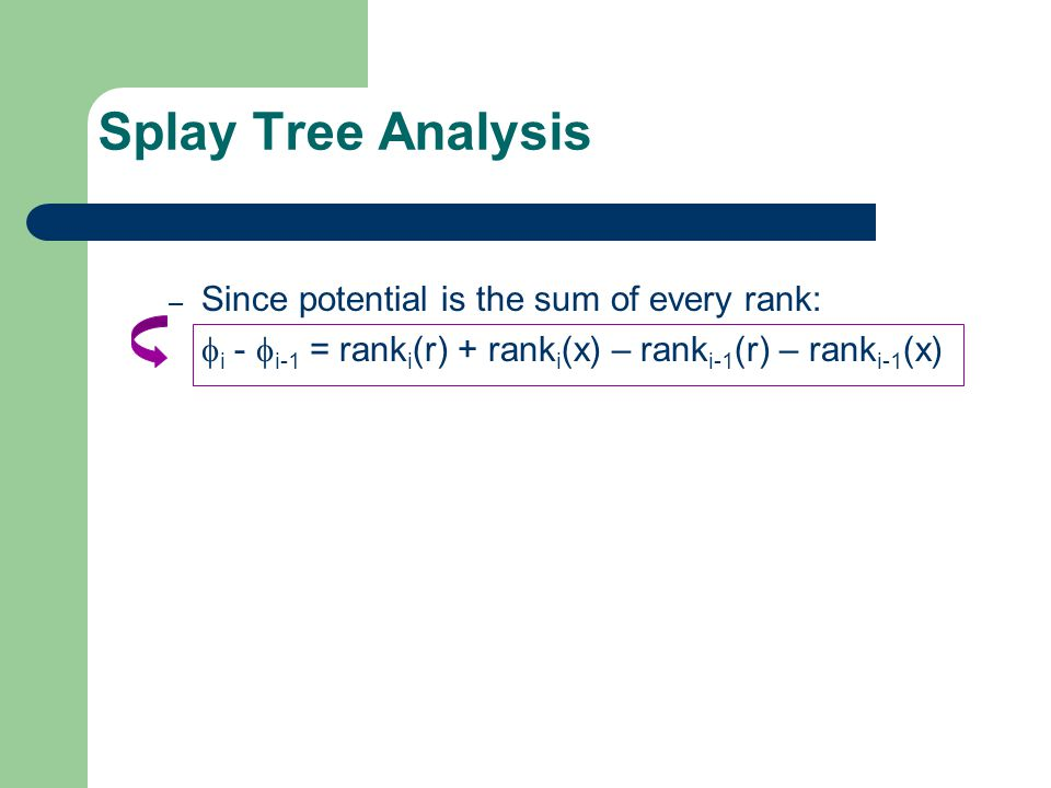 Splay Tree Analysis – Since potential is the sum of every rank:  i -  i-1 = rank i (r) + rank i (x) – rank i-1 (r) – rank i-1 (x)