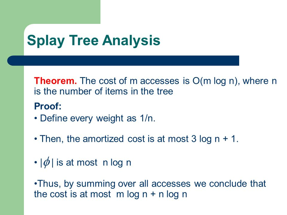 Theorem. The cost of m accesses is O(m log n), where n is the number of items in the tree Splay Tree Analysis Proof: Define every weight as 1/n. Then,