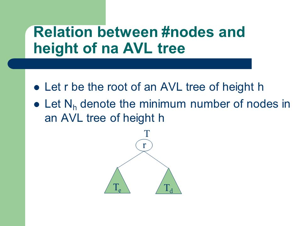 Let r be the root of an AVL tree of height h Let N h denote the minimum number of nodes in an AVL tree of height h Relation between #nodes and height