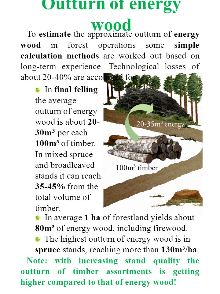 Outturn of energy wood To estimate the approximate outturn of energy wood in forest operations some simple calculation methods are worked out based on long-term experience.