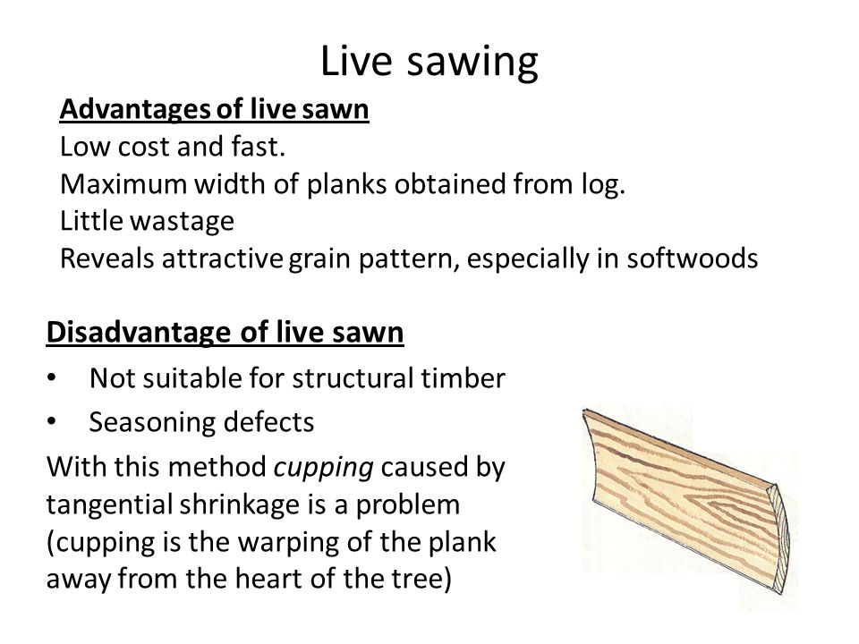 Live sawing Disadvantage of live sawn Not suitable for structural timber Seasoning defects With this method cupping caused by tangential shrinkage is