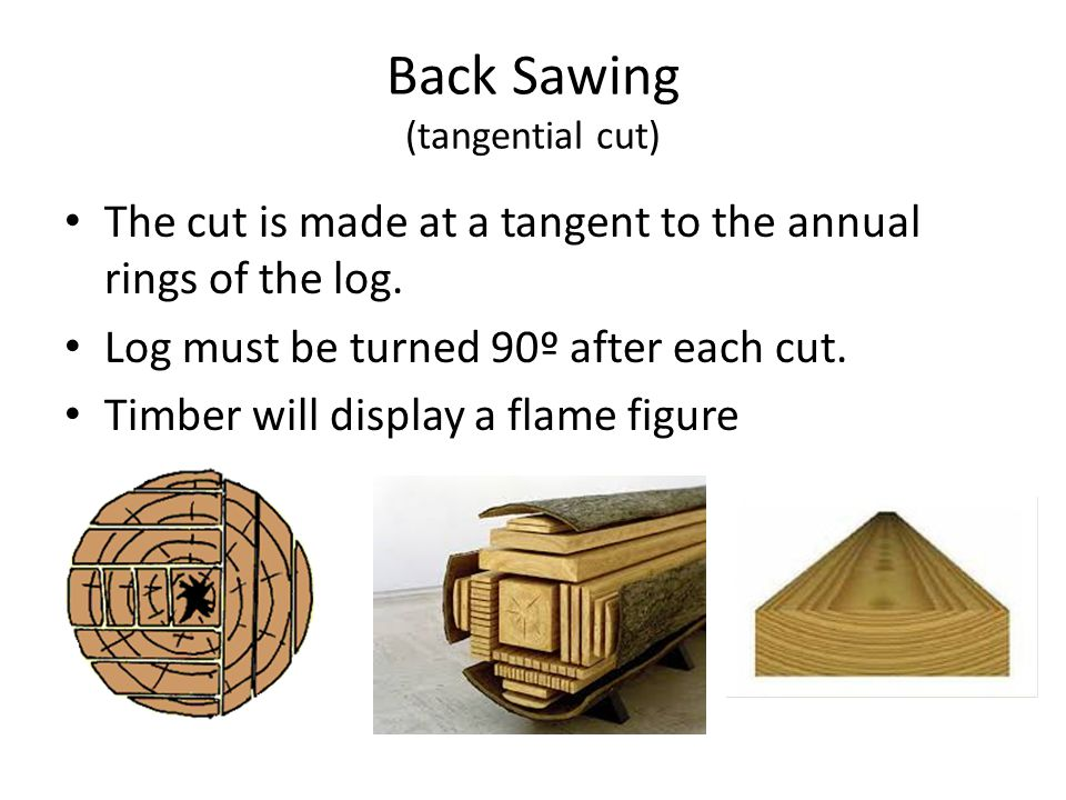 Back Sawing (tangential cut) The cut is made at a tangent to the annual rings of the log. Log must be turned 90º after each cut. Timber will display a