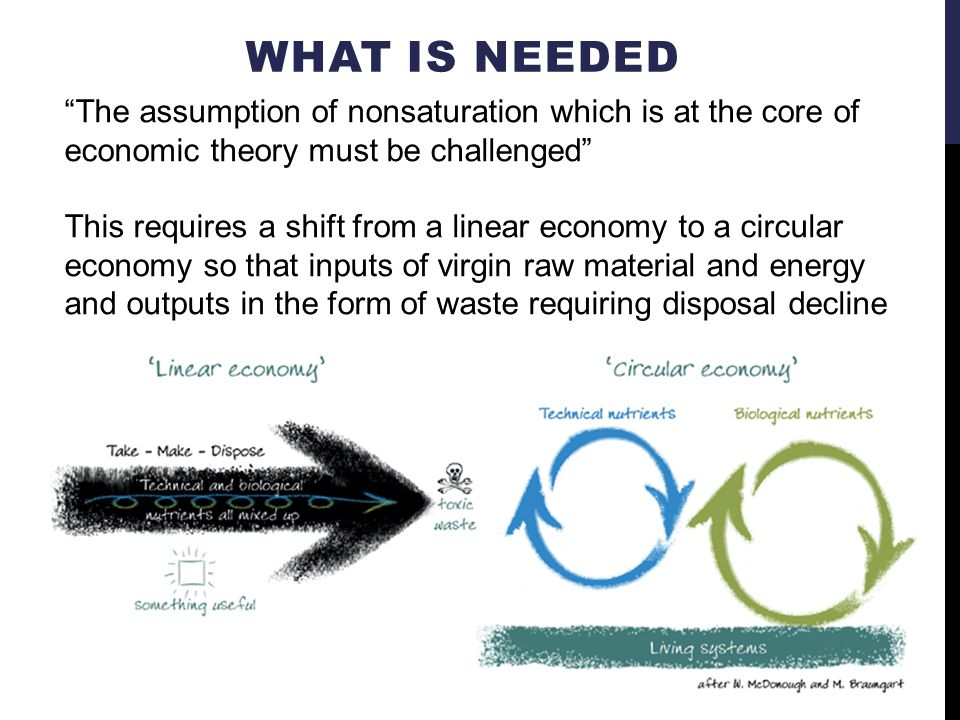 WHAT IS NEEDED The assumption of nonsaturation which is at the core of economic theory must be challenged This requires a shift from a linear economy to a circular economy so that inputs of virgin raw material and energy and outputs in the form of waste requiring disposal decline