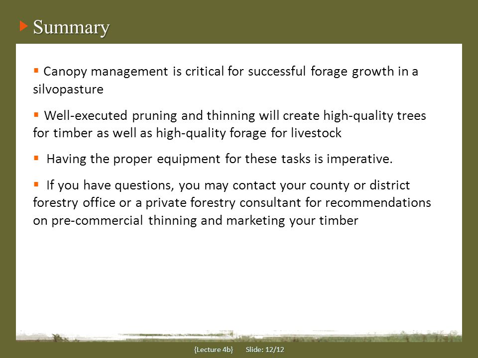 Summary {Lecture 4b} Slide: 12/12 Advantages:  Canopy management is critical for successful forage growth in a silvopasture  Well-executed pruning a