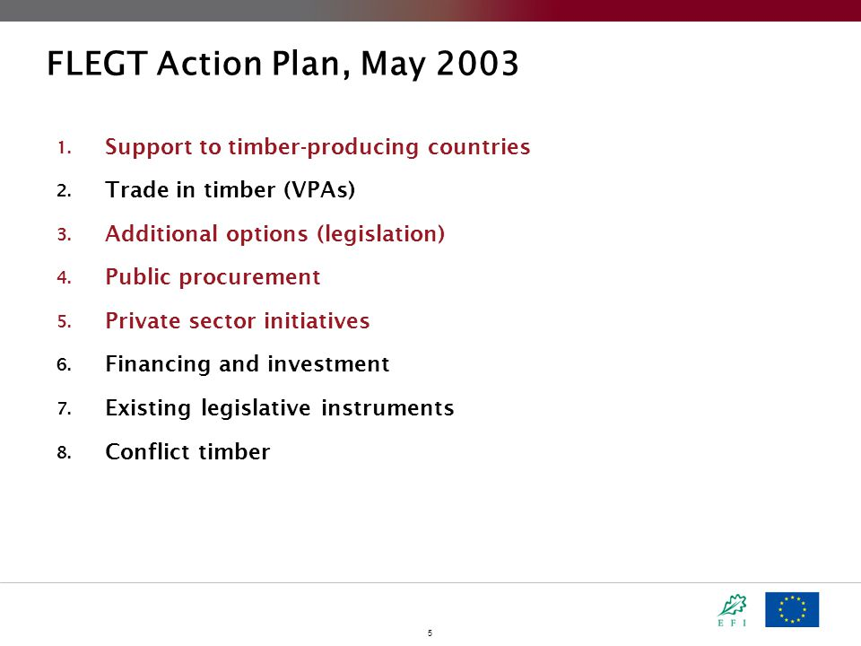 5 FLEGT Action Plan, May 2003 1. Support to timber-producing countries 2.