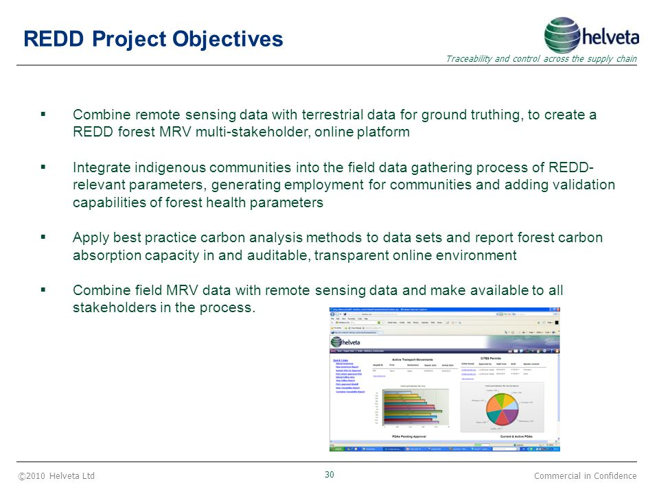 ©2010 Helveta Ltd 30 Traceability and control across the supply chain Commercial in Confidence  Combine remote sensing data with terrestrial data for ground truthing, to create a REDD forest MRV multi-stakeholder, online platform  Integrate indigenous communities into the field data gathering process of REDD- relevant parameters, generating employment for communities and adding validation capabilities of forest health parameters  Apply best practice carbon analysis methods to data sets and report forest carbon absorption capacity in and auditable, transparent online environment  Combine field MRV data with remote sensing data and make available to all stakeholders in the process.