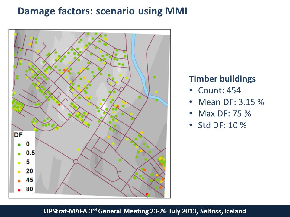 UPStrat-MAFA 3 rd General Meeting 23-26 July 2013, Selfoss, Iceland Damage factors: scenario using MMI Timber buildings Count: 454 Mean DF: 3.15 % Max DF: 75 % Std DF: 10 %