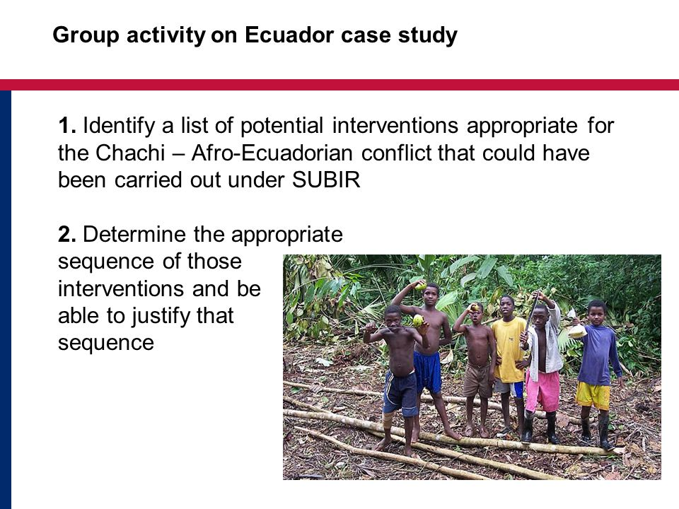 1. Identify a list of potential interventions appropriate for the Chachi – Afro-Ecuadorian conflict that could have been carried out under SUBIR 2. De