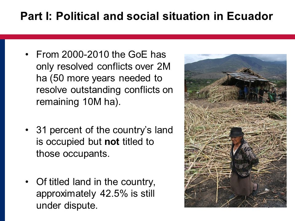 From 2000-2010 the GoE has only resolved conflicts over 2M ha (50 more years needed to resolve outstanding conflicts on remaining 10M ha).