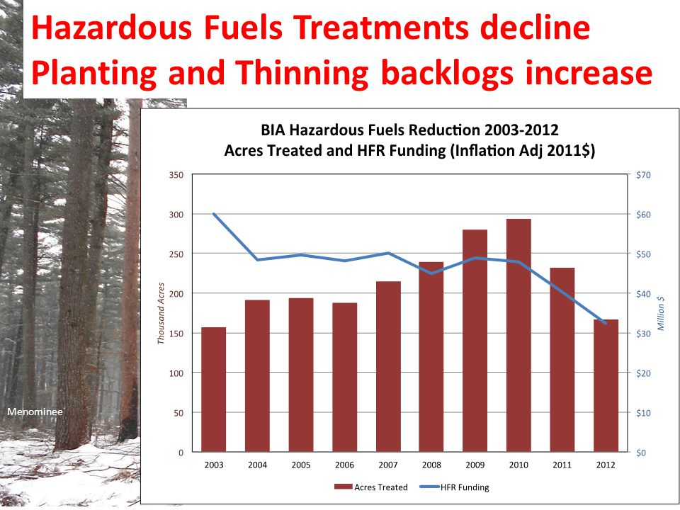 Menominee Hazardous Fuels Treatments decline Planting and Thinning backlogs increase