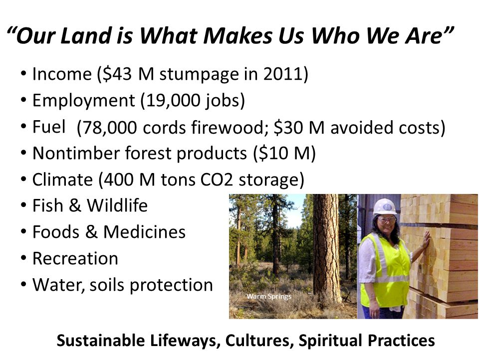 Income ($43 M stumpage in 2011) Employment (19,000 jobs) Fuel Nontimber forest products ($10 M) Climate (400 M tons CO2 storage) Fish & Wildlife Foods & Medicines Recreation Water, soils protection Warm Springs Sustainable Lifeways, Cultures, Spiritual Practices Our Land is What Makes Us Who We Are (78,000 cords firewood; $30 M avoided costs)