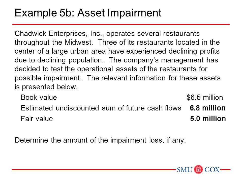 Example 5b: Asset Impairment Chadwick Enterprises, Inc., operates several restaurants throughout the Midwest. Three of its restaurants located in the