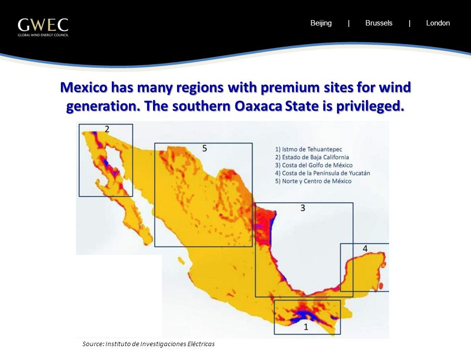Mexico has many regions with premium sites for wind generation.