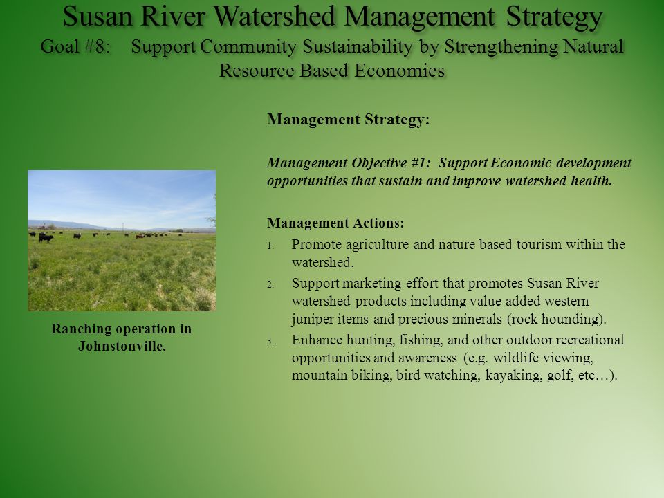 Susan River Watershed Management Strategy Goal #8: Support Community Sustainability by Strengthening Natural Resource Based Economies Management Strat