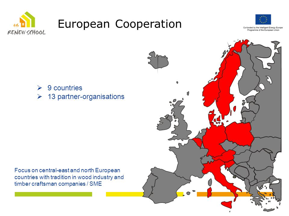  9 countries  13 partner-organisations Focus on central-east and north European countries with tradition in wood industry and timber craftsman companies / SME European Cooperation