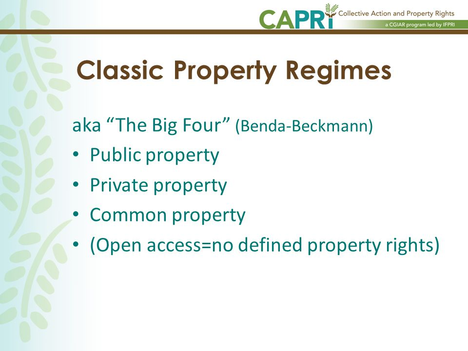 Classic Property Regimes aka The Big Four (Benda-Beckmann) Public property Private property Common property (Open access=no defined property rights)
