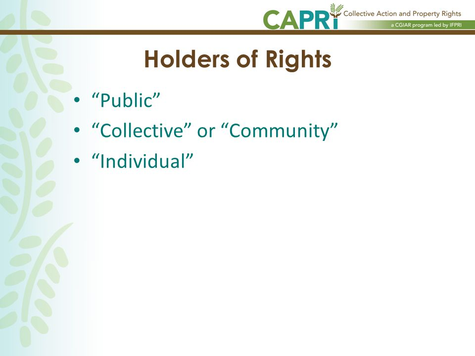Holders of Rights Public Collective or Community Individual